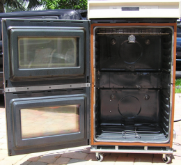 Powder Coating Oven - Homemade powder coating oven adapted from a residential double oven. Capable of accommodating 36