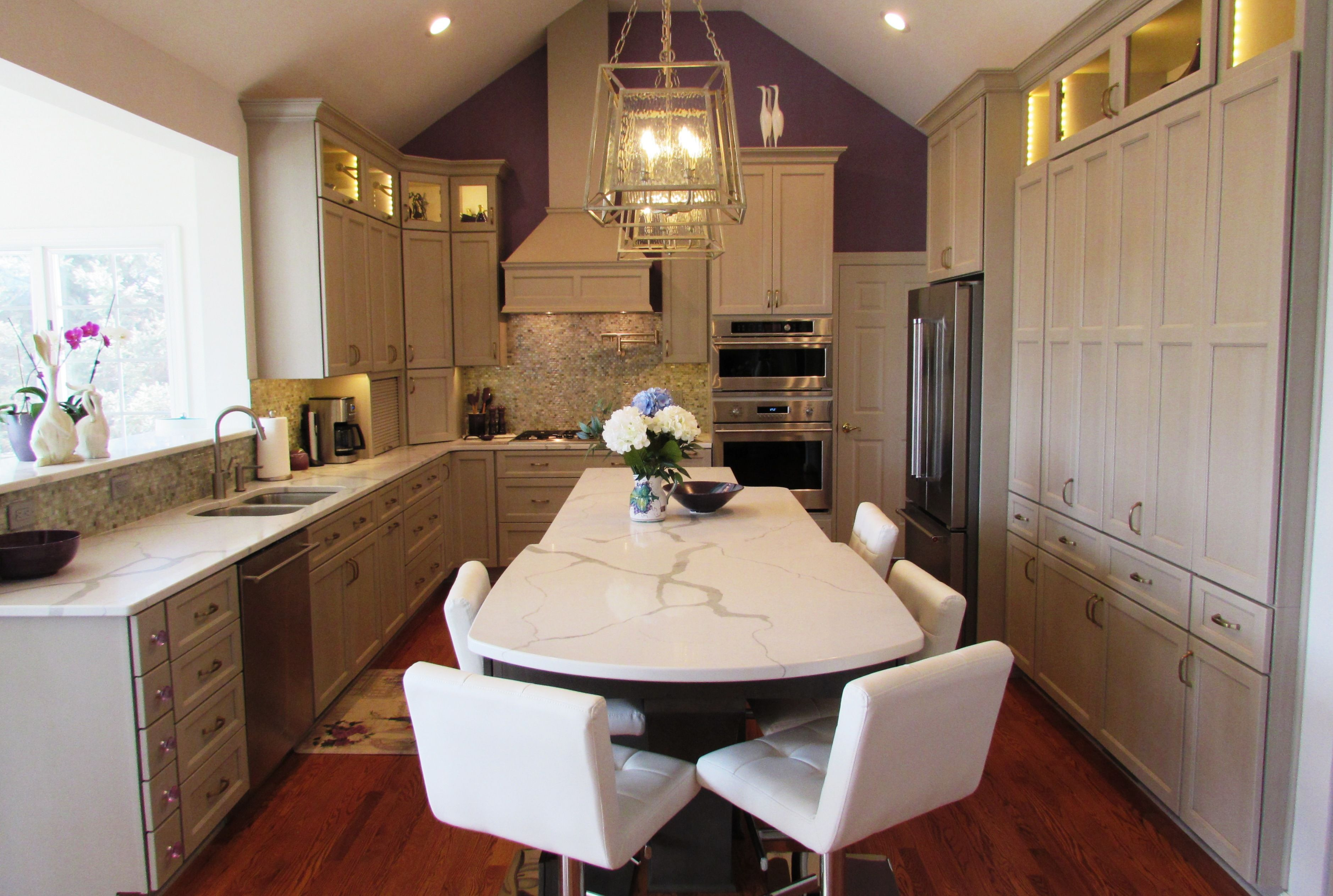 Kitchen Remodel In Potomac Md With Gray Cabinetry Kitchenremodel Custom Kitchens Kitchen Remodel Remodeling Companies