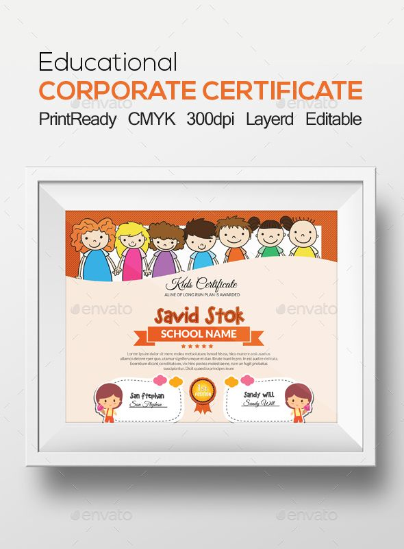 Kids Certificate Kid, Certificate templates and Stationery - corporate certificate template