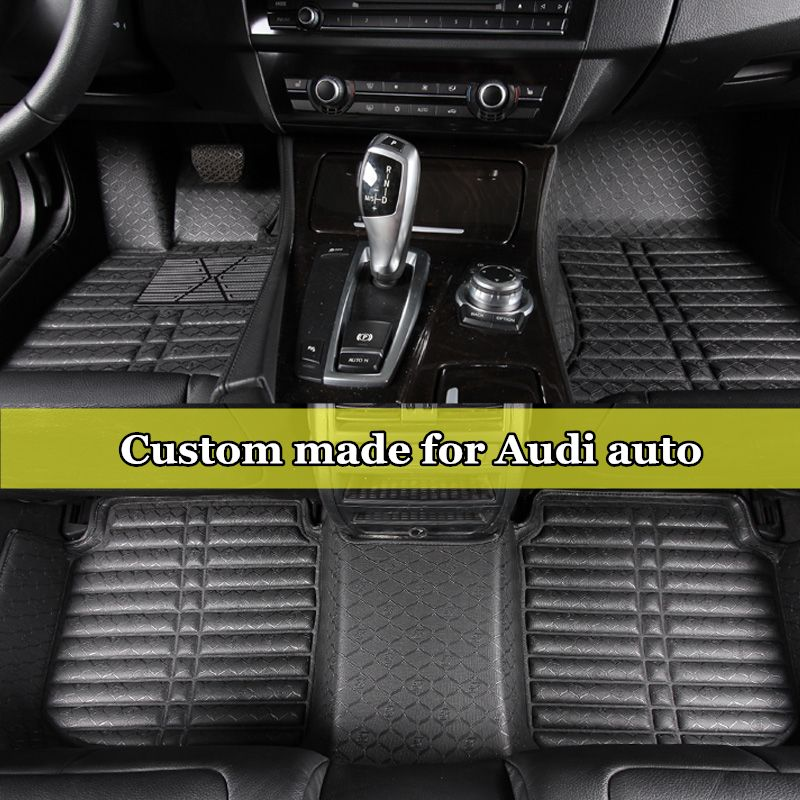 Double Layers Car Floor Mats Waterproof Coil Leather Carpets Rug For AUDI A1