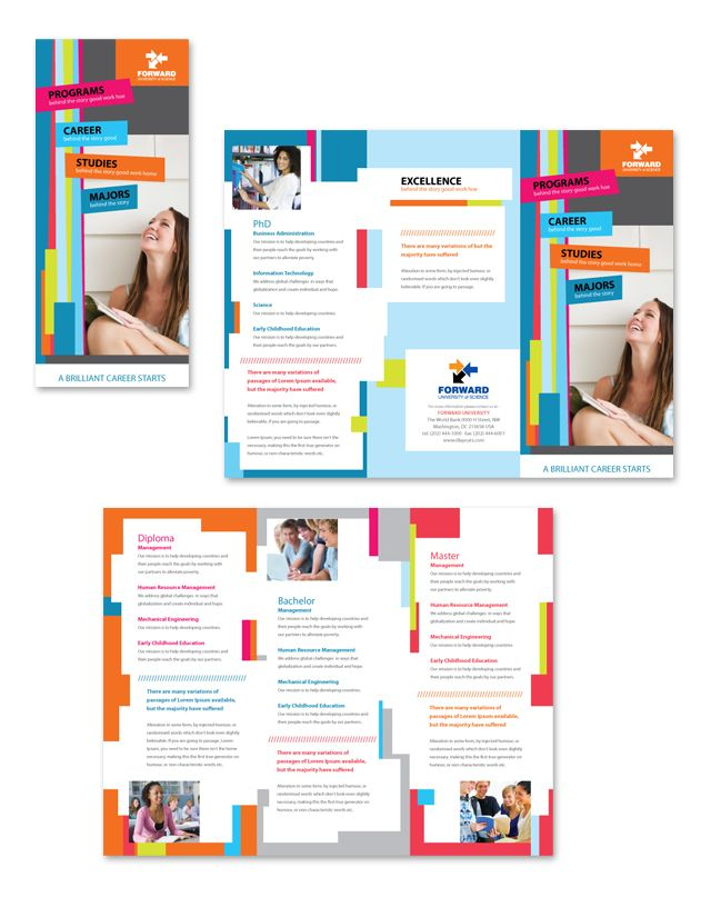 College & University Tri Fold Brochure Template School Pinterest