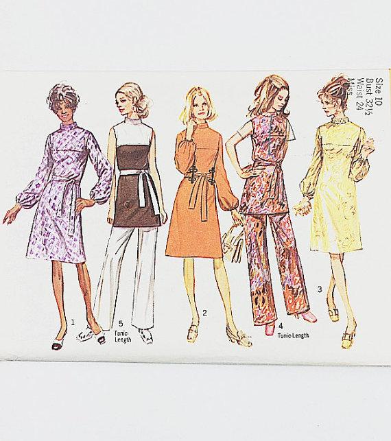 70s Tunic Dress Pattern | Simplicity 9125 Misses Dress & Pants ...