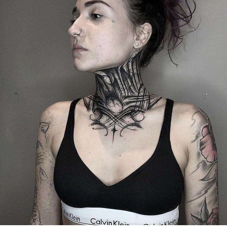 Tattoo By Gromov6666 Blackworkers Blackworkers Tattoo Tattoo Bw Blackwork Blacktattoo Tattoos For Women Neck Tattoo Throat Tattoo