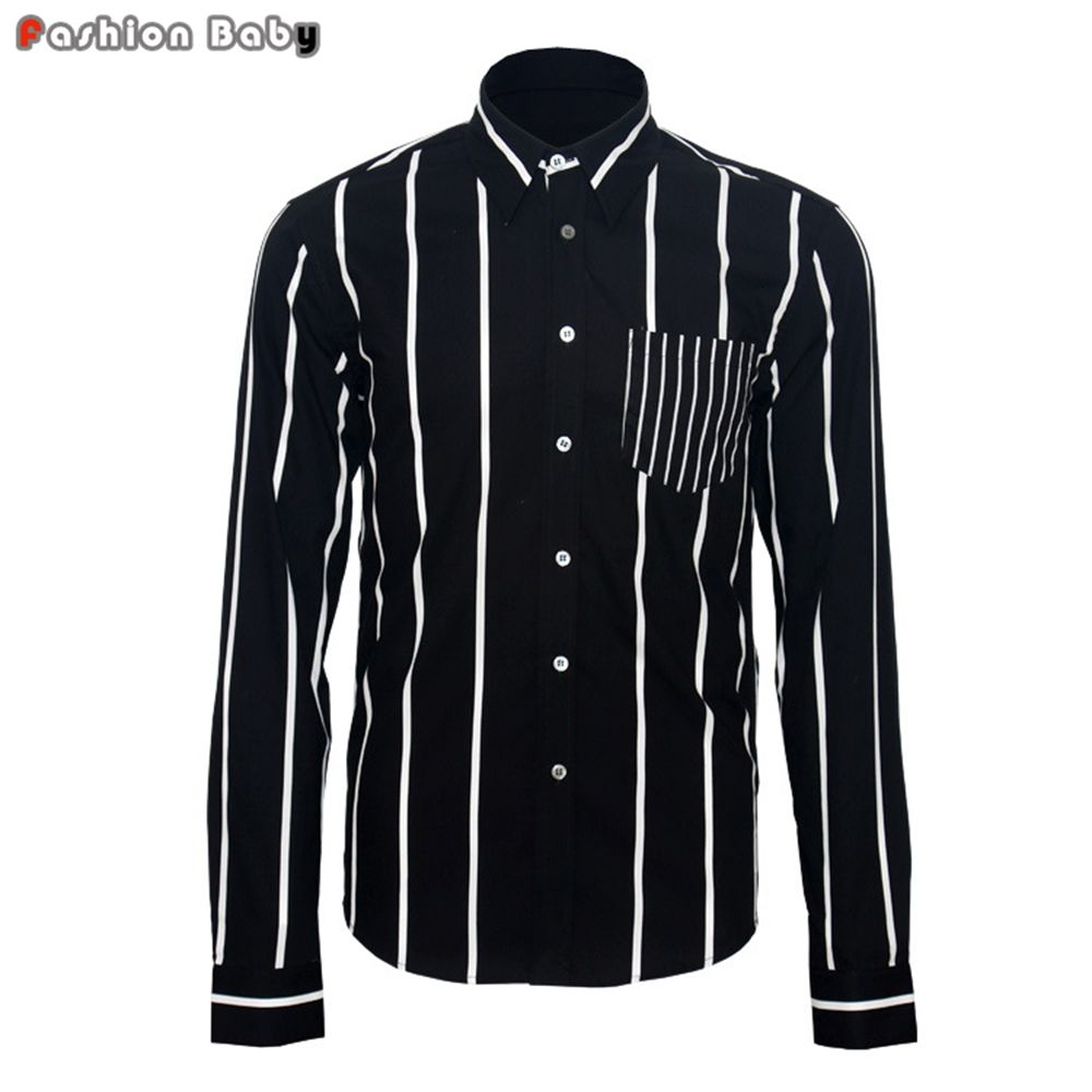 Click to buy ucuc menus white stripe party dress casual shirt fashion
