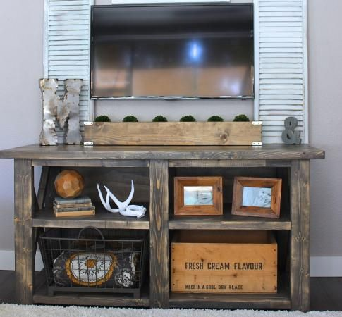 The perfect media stand rugged rooster creations do it for Diy pallet tv stand instructions