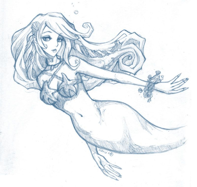 Mermaid Sketches Drawings