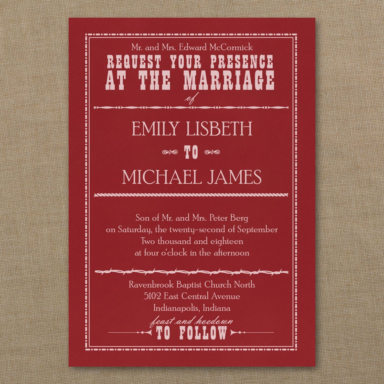 Red Wedding Ideas - Western Sensation - Classic Invitation - Claret ...