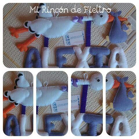 Nombre personalizado para decorar una zona infantil,  ideal como regalo en un nacimiento.  Más en www.fieltrolandia-1.blogspot.com