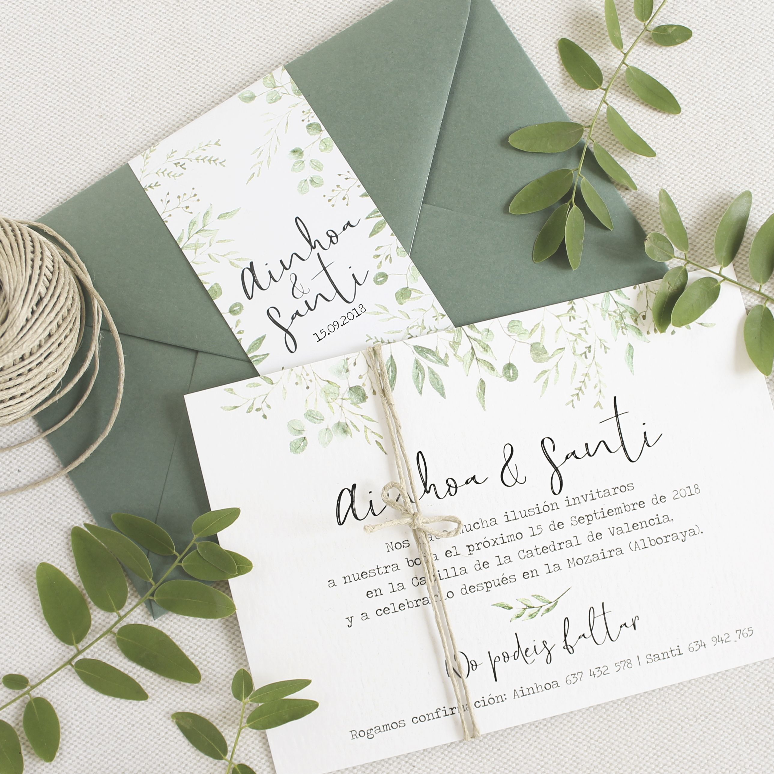 Invitación boda – «BOTÁNICA VERDE» – This Is Kool