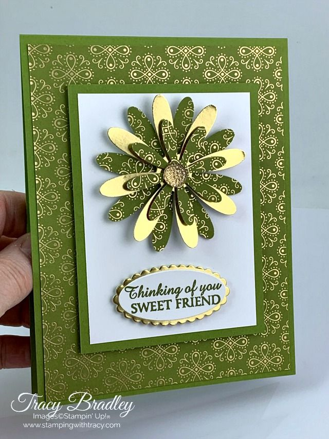 Handmade card featuring Stampin' Up! Ornate Garden Specialty Designer Series Paper, Daisy Punch and Medium Daisy Punch.  Created by Tracy Bradley, Independent Stampin' Up! Demonstrator   www.stampingwithtracy.com