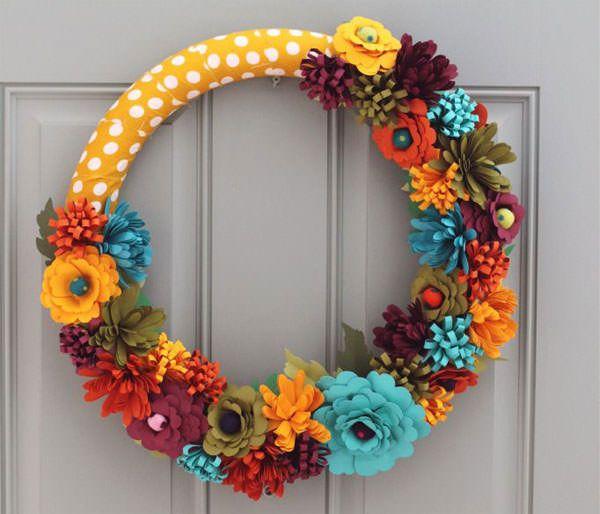 Ghirlanda autunnale fai da te con fiori in gomma crepla ghirlande primavera estate pinterest - Fiori da giardino autunnali ...