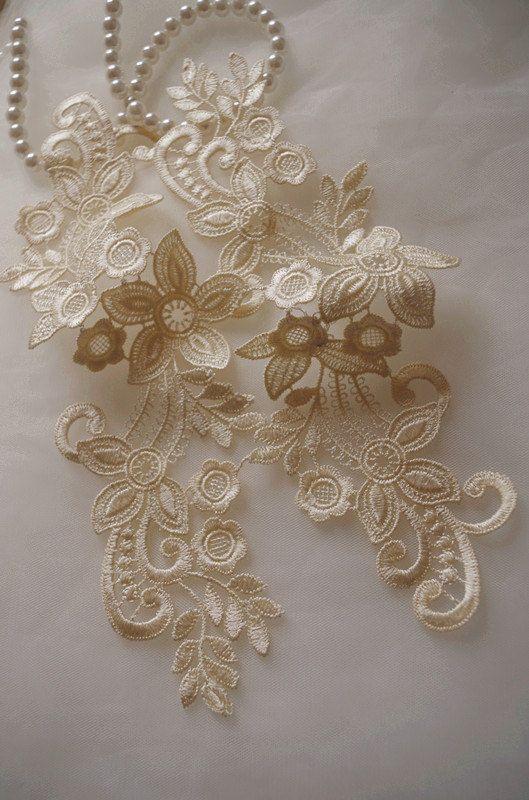 beige lace applique by pairs, venice lace applique, bridal lace applique #dollunderware