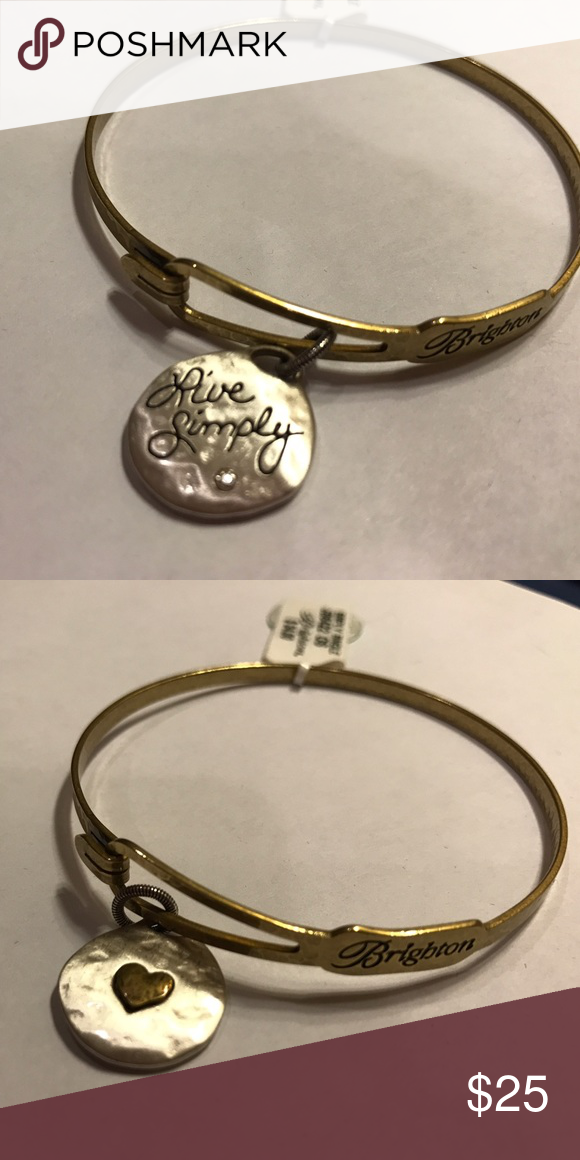 """Brighton Live Simply Bracelet Brighton Bracelet. ✨ One side of charm says """"live simply"""" other side has a heart. New with tags. Brighton Jewelry Bracelets"""