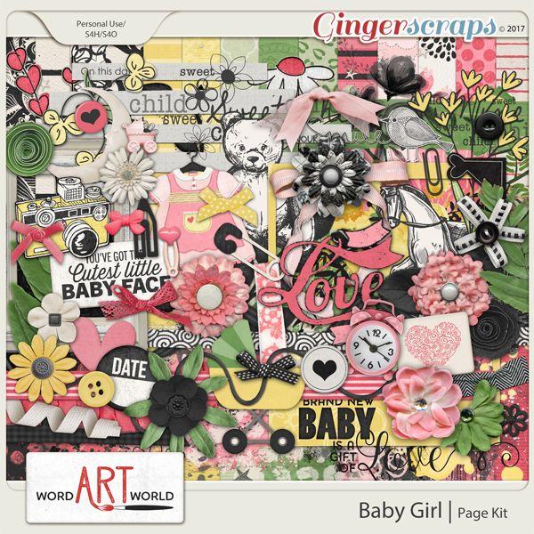 Baby Girl Page Kit #wordartworld #digitalscrapbooking #pagekit #wordart #gingerscraps #scrapbooking  #digitalpapers #babyscrapbooking #babiespagekit #babygirl #babydigitalscrapbooking #babygirlscrapbooking