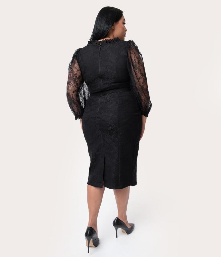 9e131ce14cbc7 Vixen by Micheline Pitt Plus Size Black Lace Decadence Wiggle Dress