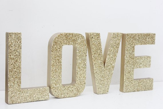 LOVE GLITTER GOLD Sign Letters Free Standing Glittered Wedding Decor