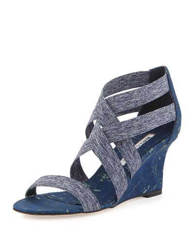 X2XK8 Manolo Blahnik Glassa Strappy Cork Wedge Sandal, Denim