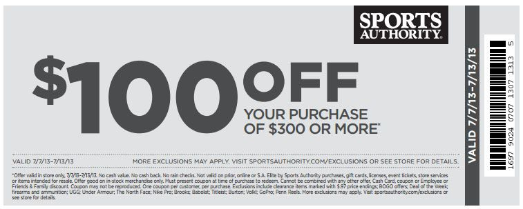photograph relating to Sports Authority Coupons Printable named Sports activities Authority: $100 off $300 Printable Coupon 6.18.13