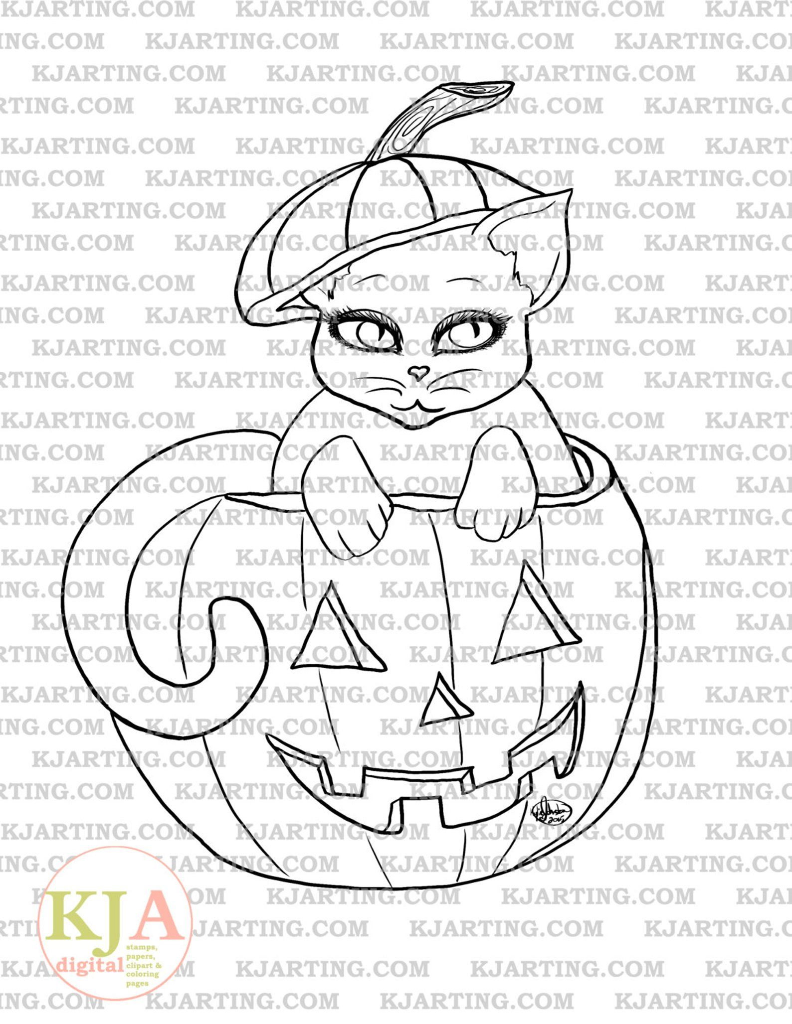 Jack O Lantern Kitty Digital Stamp Line Art Printable