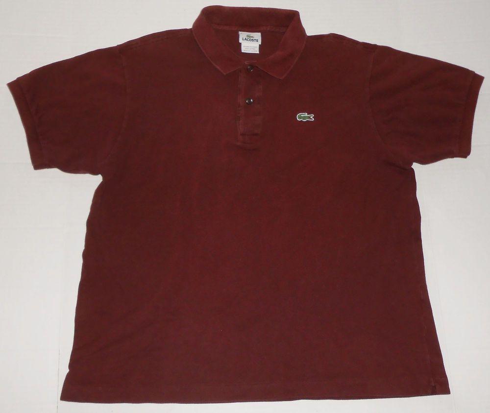 303536fbb3f9b LACOSTE Men's Solid Burgundy Polo Shirt size 6 L LARGE Crocodile ...