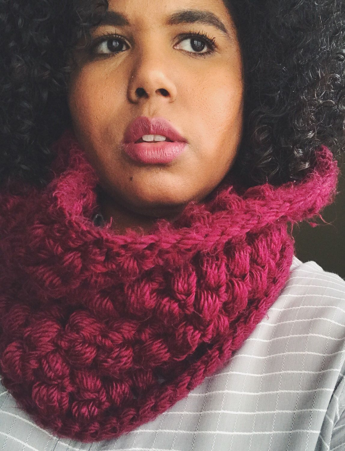 A personal favorite from my Etsy shop https://www.etsy.com/listing/508040773/puff-stitch-cowl-warm-cozy-infinity-neck