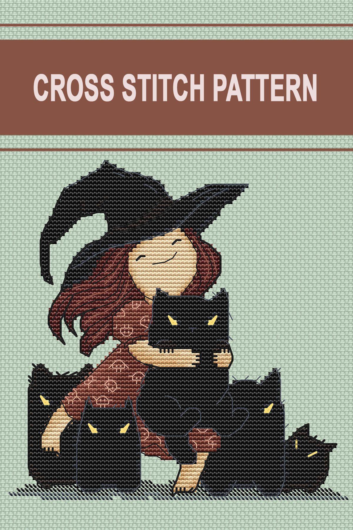 Cat cross stitch pattern by ILikeCrossStitch. Black angry cat cross stitch patterns