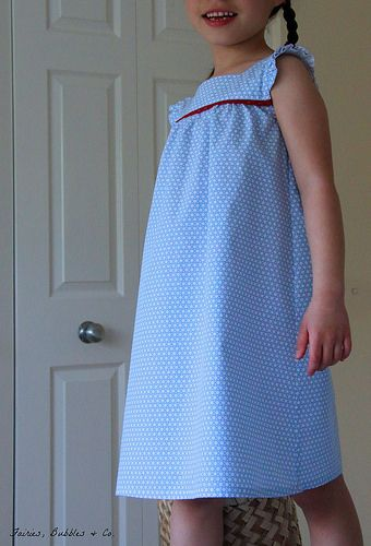 "view a ""Dress with Frilled Shoulders"" from the Japanese Book ""Sew Chic Kids"" size 2 (100 cm)"