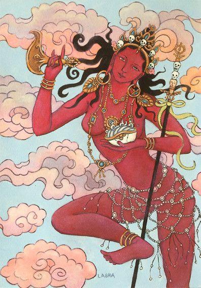 Red Dakini by Lasha Mutual | Unique Asian Artwork | Buddhist