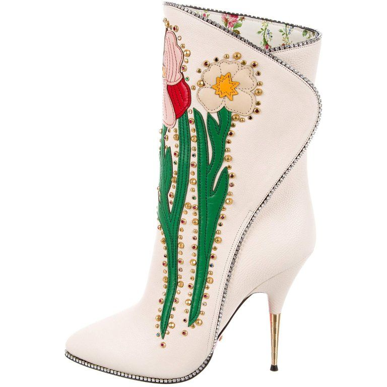 Gucci New Runway Novelty White Embroidered Crystal Evening Ankle Boots From A Collection Of Rare Vintage Boots At Https Boots Pointy Toe Boots Gucci Boots