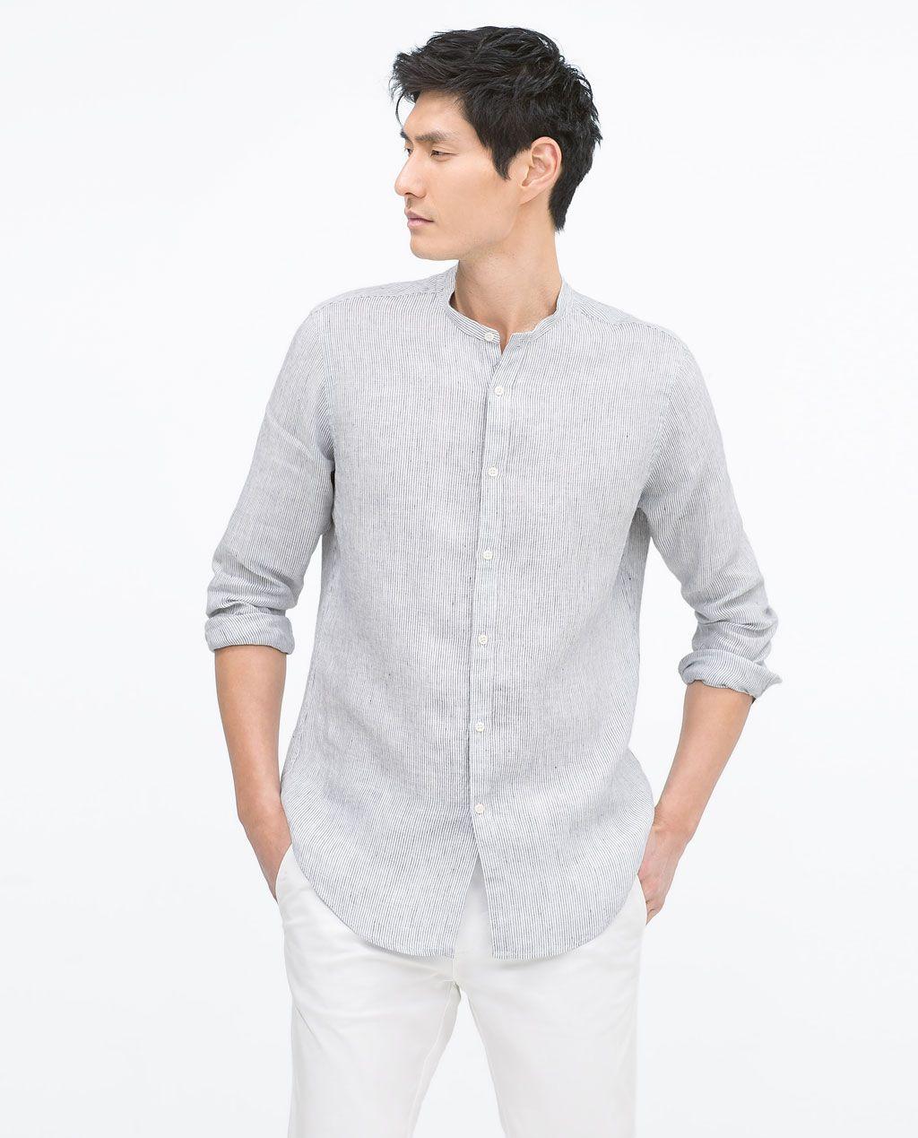 Zara black t shirt india - Image 1 Of Linen Shirt From Zara