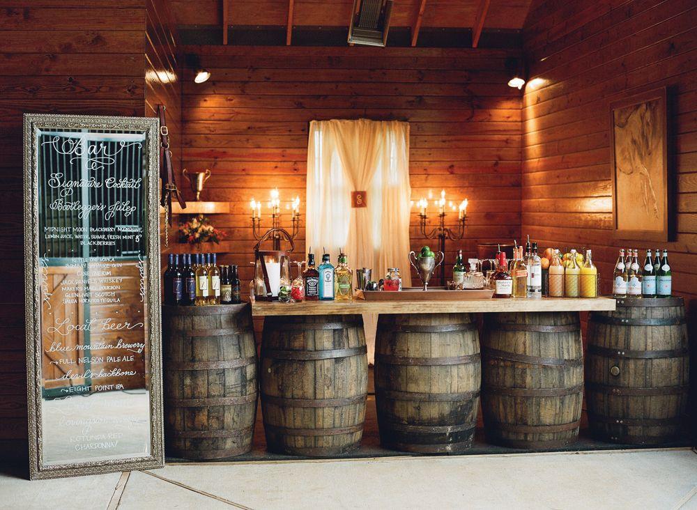 Wedding Reception Bar Created On Whiskey Barrels With
