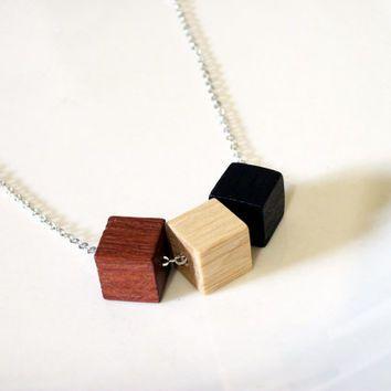 Wood cube necklace, modern necklace, minimalist necklace, cube necklace, wooden cubes, geometric, wood bead jewelry, everyday jewelry