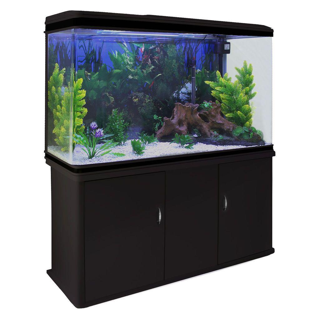 Fish tank aquarium black cabinet complete set up tropical for Fish tank set