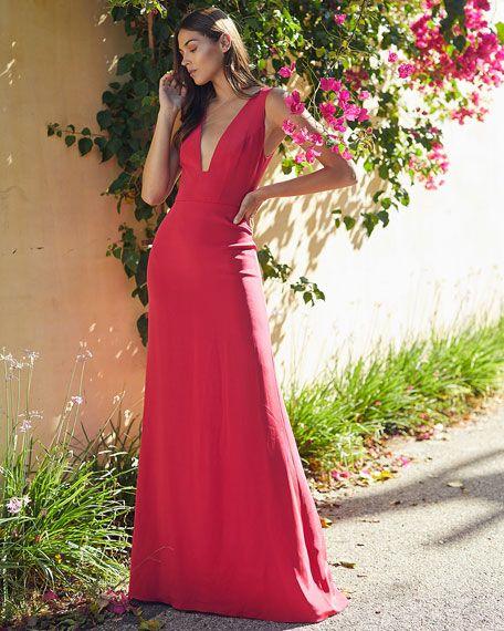 Monique Lhuillier Sleeveless Deep V-Neck Gown | Neiman Marcus