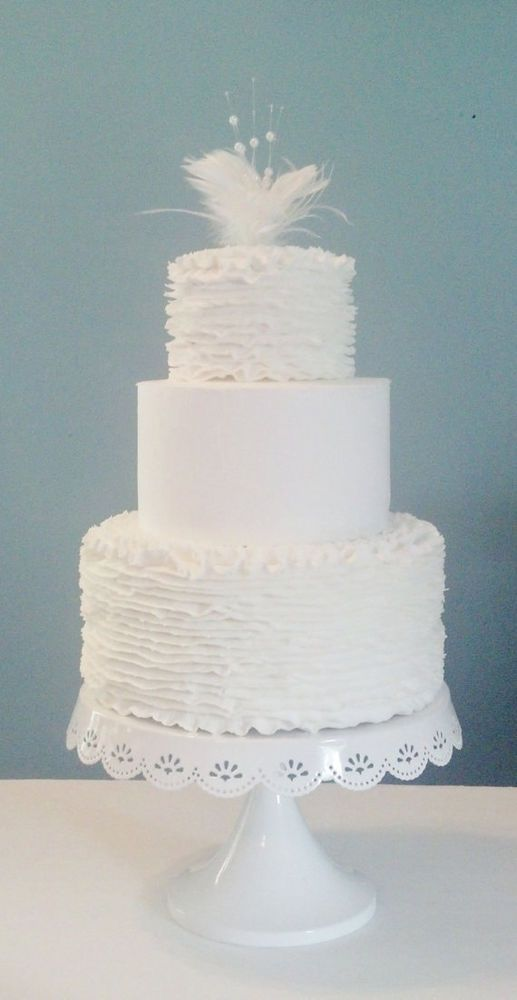 3 Tier White Wedding Fake Cake, Can Have Slice Out for Real Piece of Cake #FakeCupcakeCreations