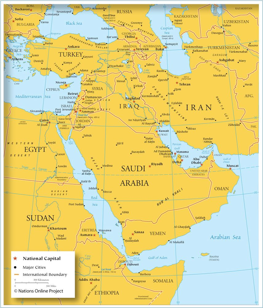 Political Map Of Western Asia And The Middle East Asia Map