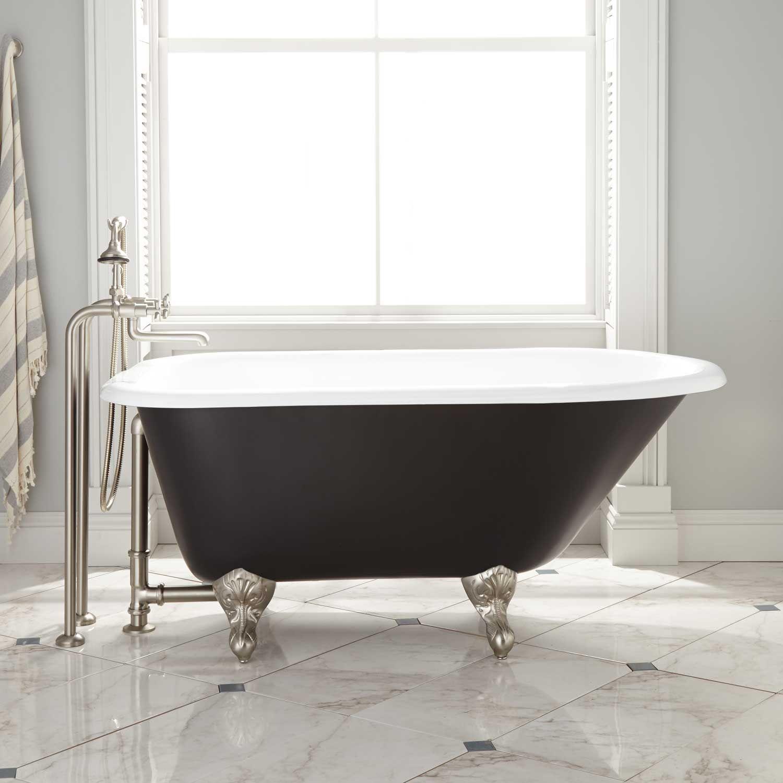 54 Miya Cast Iron Clawfoot Tub In White Ball Claw Feet In Black