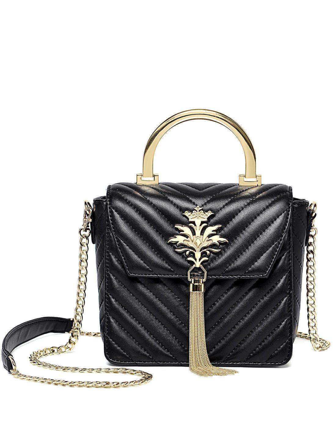 #AdoreWe #VIPme Shoulder Bags - Designer METEOR BIRD Black Sheepskin Fashion Metallic Tassel Top Handle - AdoreWe.com