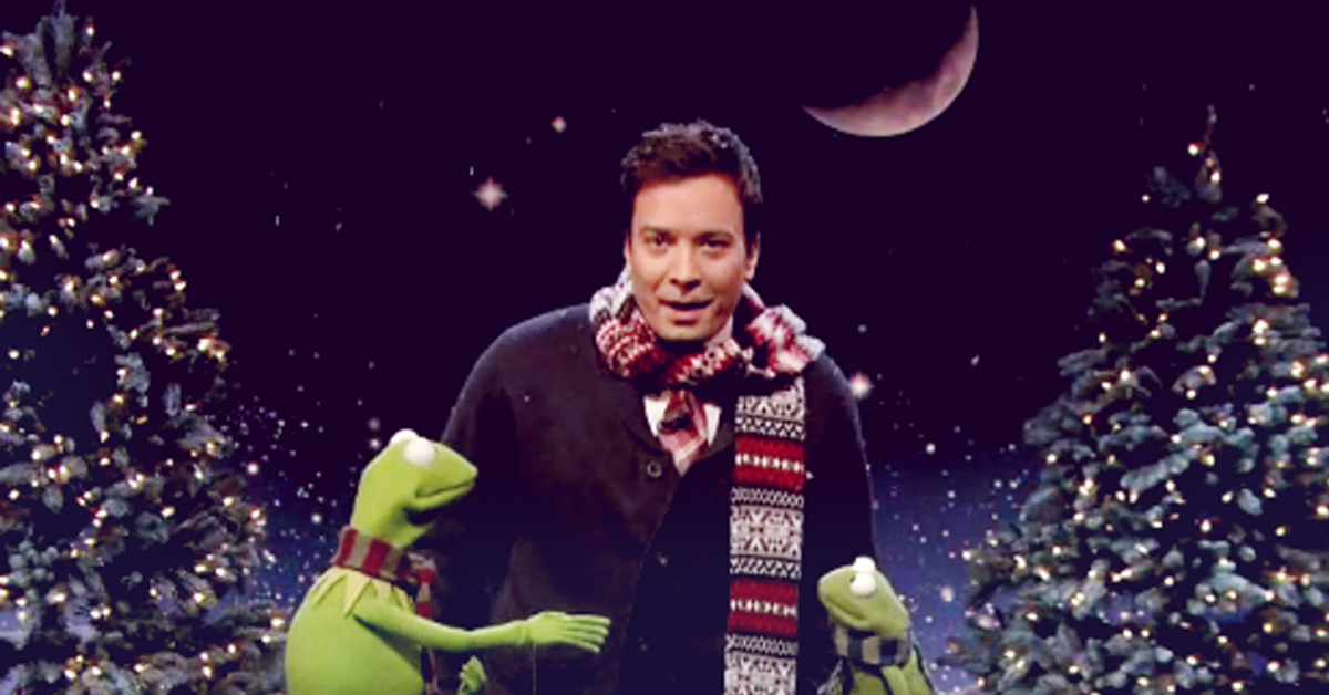 """Jimmy Fallon and Kermit sing the Christmas song """"When the river ..."""