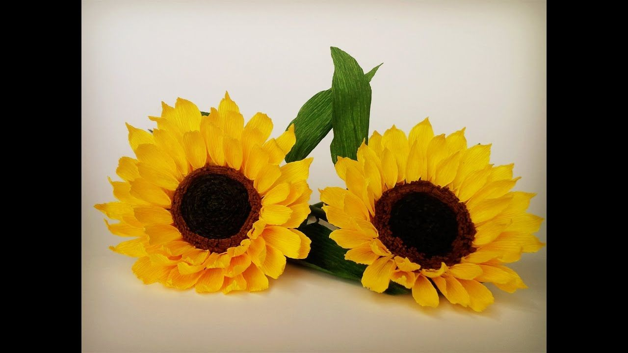 How To Make Sunflower From Crepe Paper Craft Tutorial Youtube
