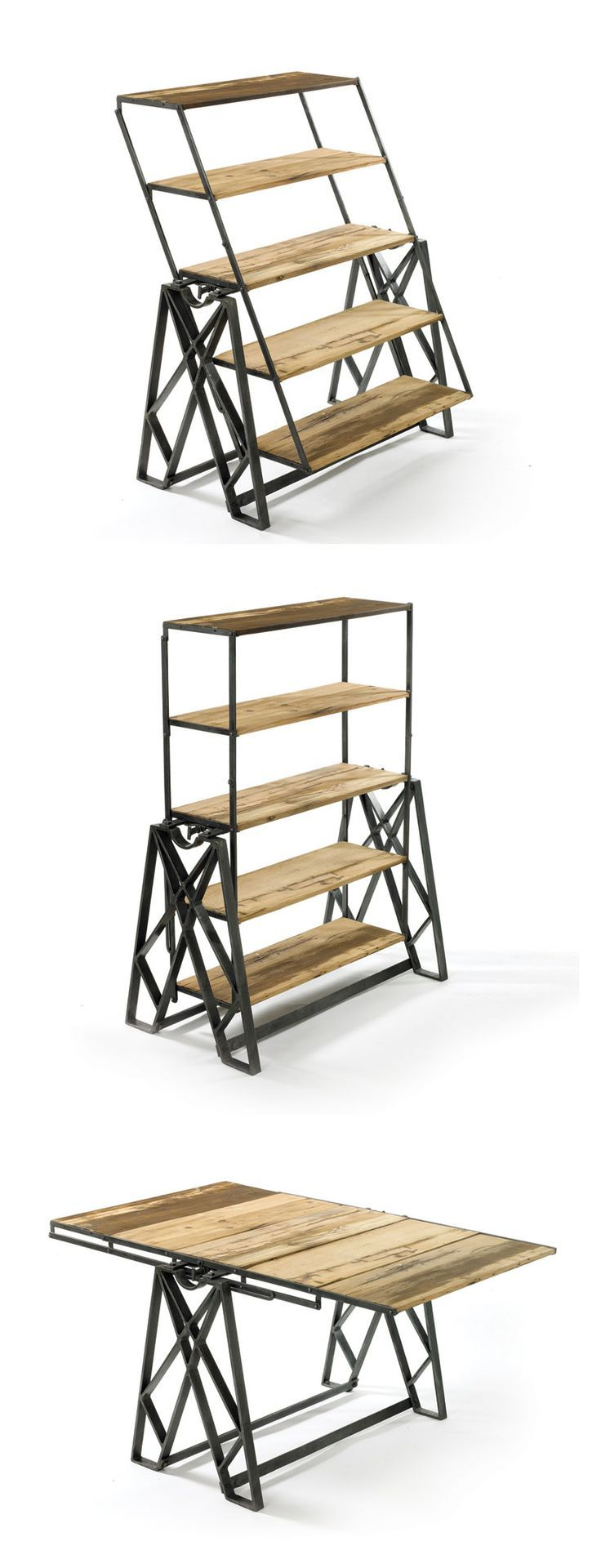 Reclaimed wood convertible shelf table ideias de produtos