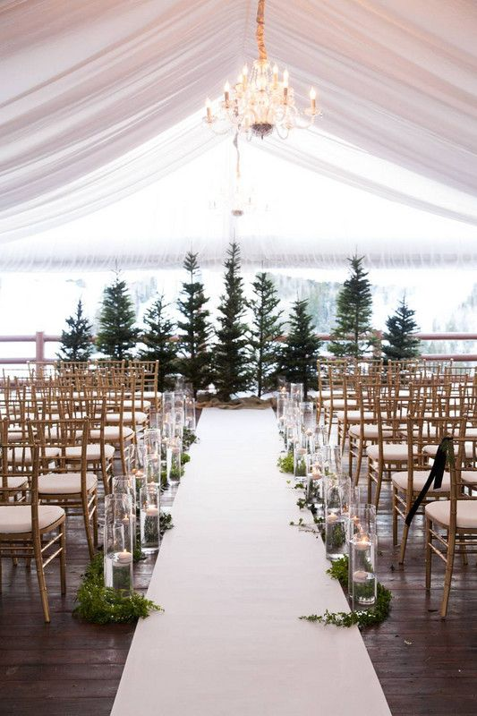 Winter Wedding Ideas White Decor With Christmas Trees Venuewedding Outdoor Ceremonywedding