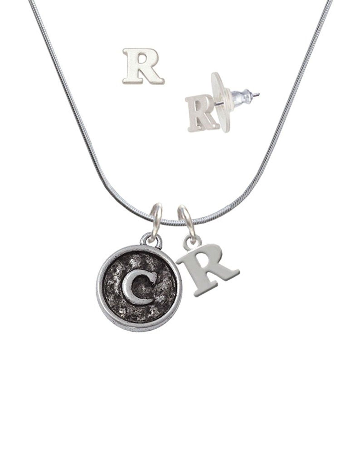 Silvertone Antiqued Round Seal - Initial - C - R Initial Charm