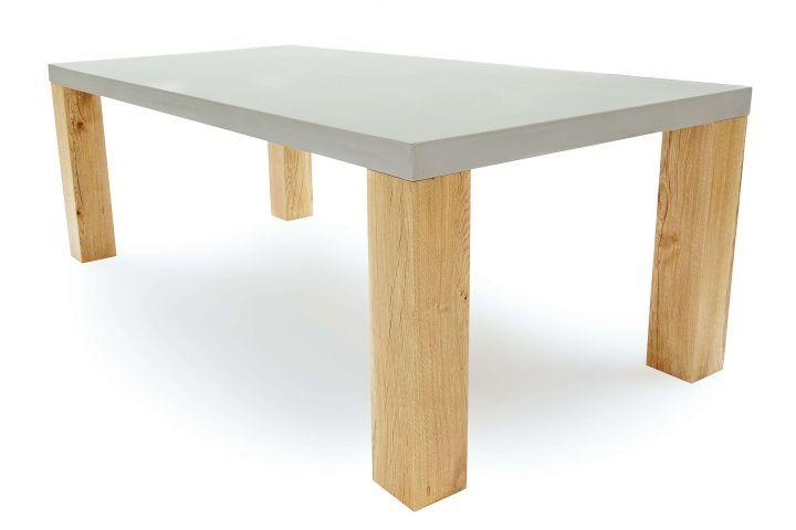 Betontisch Wohnzimmer ~ Massivholz esstisch mit beton betontisch beton bauen diy
