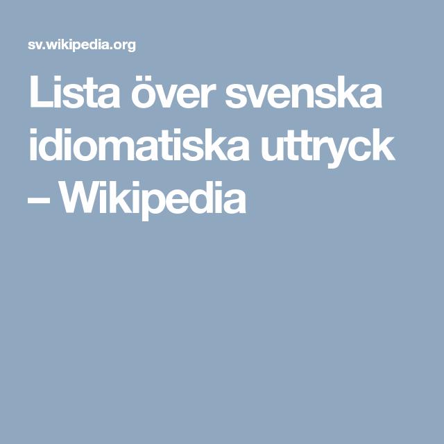svenska uttryck och fraser