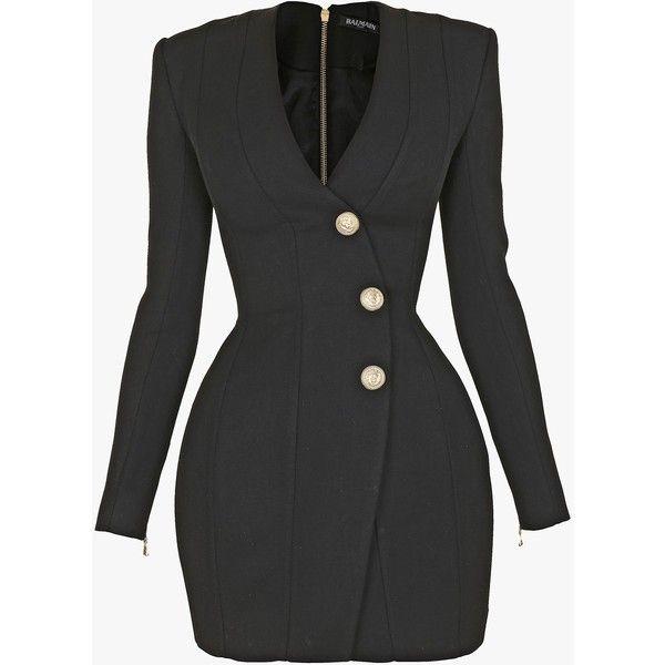 Grain de poudre wool mini dress   Women's dresses   Balmain (€2.737) ❤ liked on Polyvore featuring dresses, mini dress, woolen dress, balmain dress, wool dresses and short dresses