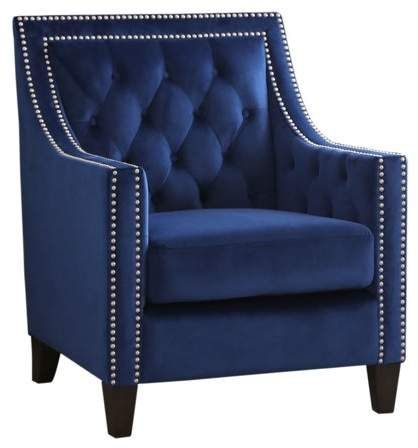 Devon Claire Jackie Nailhead Tufted Accent Chair Navy In 2019