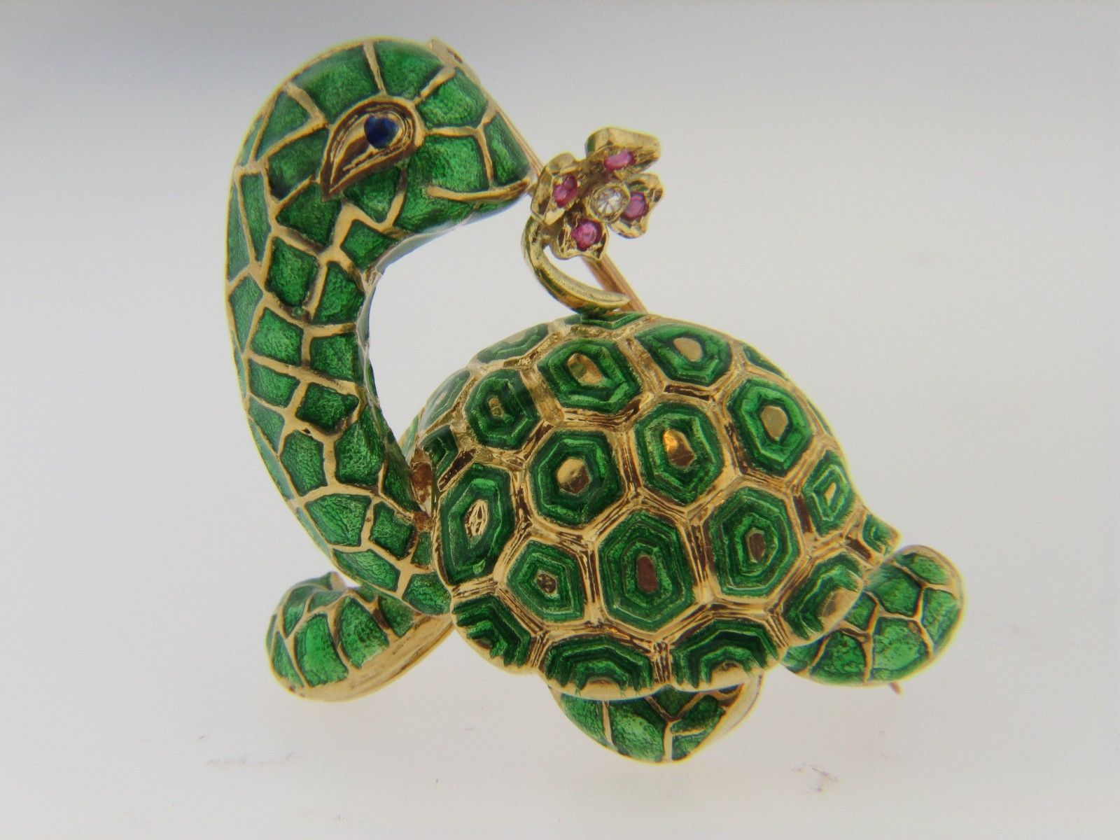 Vintage 1970's 18K Yellow Gold and Green Enamel Turtle Brooch Diamond and Ruby | eBay