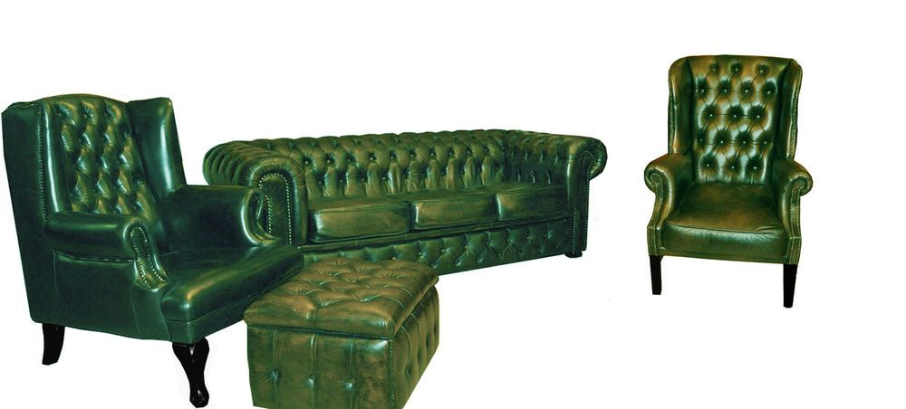 Chesterfield Sofagarnitur Sofa Couch Polster Sitz Set 2x Ohrensessel 3 Sitzer Couch Polster Sofa Couch Sofa