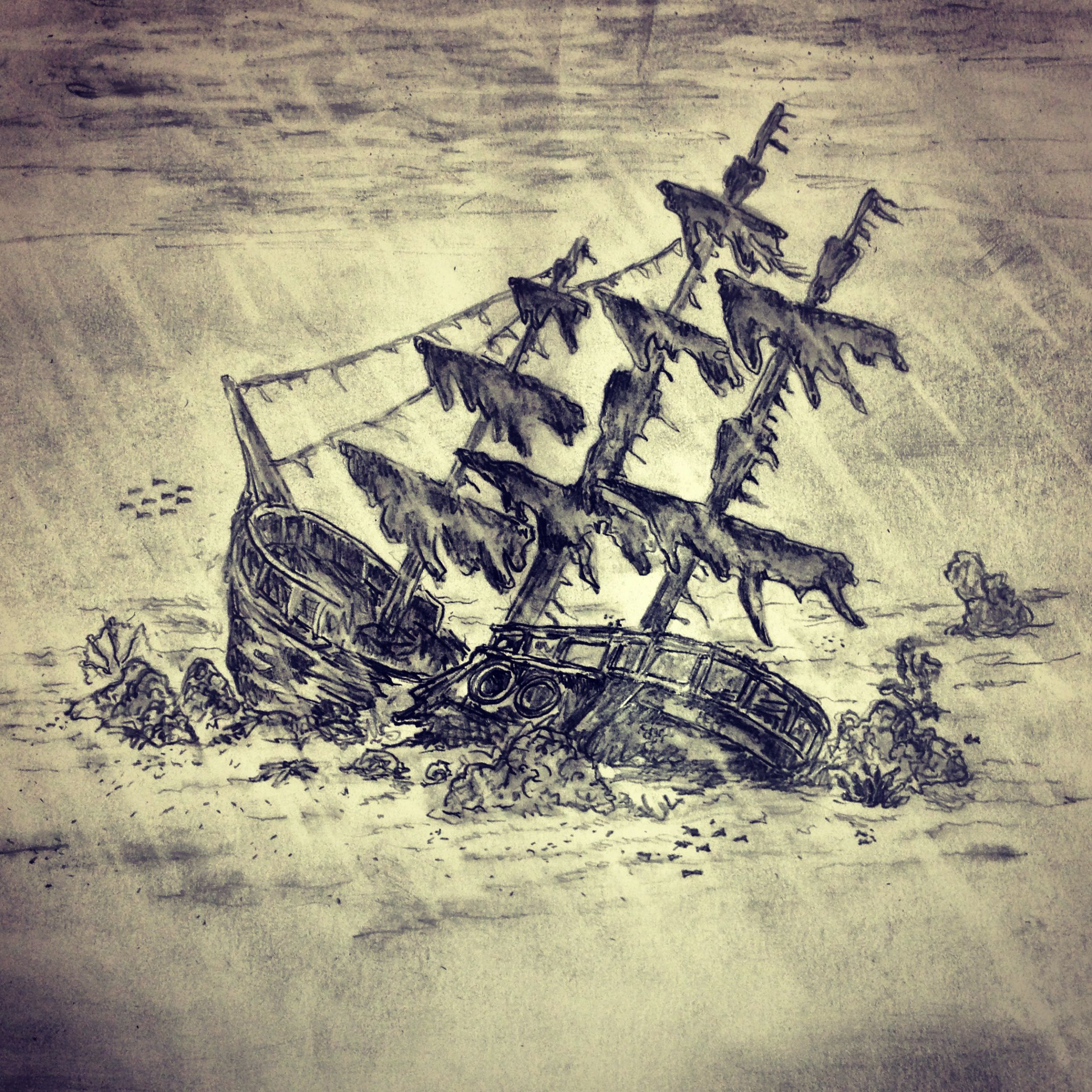 how to draw a shipwreck easy